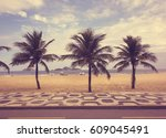 ipanema beach with palms and... | Shutterstock . vector #609045491