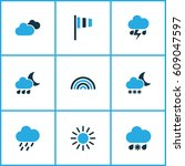 meteorology colored icons set.... | Shutterstock .eps vector #609047597