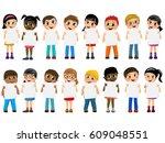multiracial kids or children... | Shutterstock .eps vector #609048551