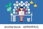 web social network concept for... | Shutterstock .eps vector #609049421