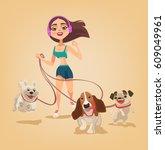 Stock vector dog walking service woman character run with pets vector flat cartoon illustration 609049961