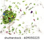 salad leaves with flowers and... | Shutterstock . vector #609050225