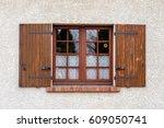 wooden window with shutters | Shutterstock . vector #609050741
