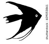 black silhouette of aquarium... | Shutterstock .eps vector #609053861