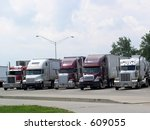 truckers take a break at rest... | Shutterstock . vector #609055