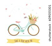 bicycle with picnic basket... | Shutterstock .eps vector #609055301