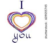 vector hand drawn gay postcard... | Shutterstock .eps vector #609055745