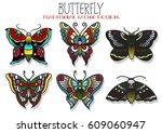 vector butterfly and mole... | Shutterstock .eps vector #609060947
