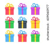 gift icons set. colorful gift... | Shutterstock .eps vector #609060977