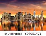 sunset over new york city's... | Shutterstock . vector #609061421