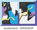 set of trendy hipster posters... | Shutterstock .eps vector #609063029