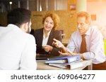 toned of happy hr specialists... | Shutterstock . vector #609064277