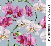 watercolor pattern with white... | Shutterstock . vector #609066335