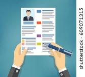 hands of businessman fill a... | Shutterstock .eps vector #609071315