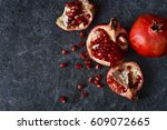 juicy  fresh pomegranates on... | Shutterstock . vector #609072665