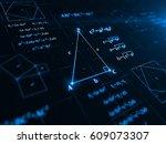 pythagorean theorem. 3d... | Shutterstock . vector #609073307