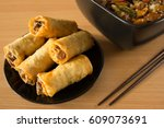 chinese food  spring rolls and... | Shutterstock . vector #609073691