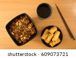 chinese food  spring rolls ... | Shutterstock . vector #609073721