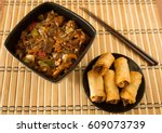 chinese food  spring rolls and... | Shutterstock . vector #609073739