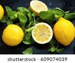 fresh lemons and mint herb... | Shutterstock . vector #609074039