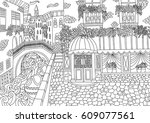 coloring for adult with venice. ... | Shutterstock .eps vector #609077561