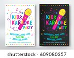 kids karaoke party poster or... | Shutterstock .eps vector #609080357