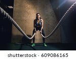 athletic young woman doing some ... | Shutterstock . vector #609086165