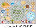 passover icons set. flat ... | Shutterstock .eps vector #609089255
