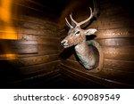 Stuffed Deer Head In A Wooden...