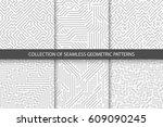 collection of striped seamless... | Shutterstock .eps vector #609090245