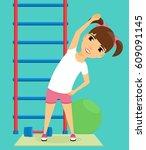little girl doing sport... | Shutterstock .eps vector #609091145