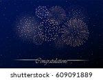 firework show on night sky... | Shutterstock .eps vector #609091889