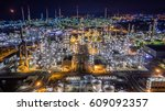 aerial top view oil refinery ... | Shutterstock . vector #609092357