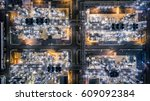 aerial top view oil refinery ... | Shutterstock . vector #609092384