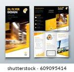 tri fold brochure design. black ... | Shutterstock .eps vector #609095414