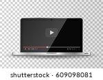 realistic modern laptop... | Shutterstock .eps vector #609098081