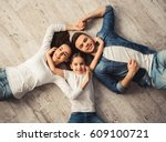 top view of cute little girl... | Shutterstock . vector #609100721