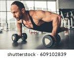 handsome muscular man is... | Shutterstock . vector #609102839