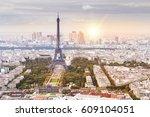 sunset eiffel tower and paris... | Shutterstock . vector #609104051