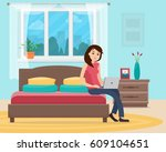 freelancer woman with computer... | Shutterstock .eps vector #609104651