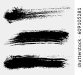 set of black paint  ink brush... | Shutterstock .eps vector #609105281