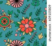 outline seamless pattern.... | Shutterstock .eps vector #609105809