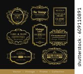 vintage gold retro logo frame...   Shutterstock .eps vector #609110891