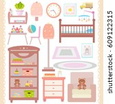 baby room furniture icon set....   Shutterstock .eps vector #609122315
