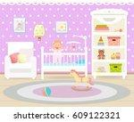 baby room interior. flat design....   Shutterstock .eps vector #609122321