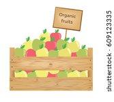 wooden box of apples. organic... | Shutterstock .eps vector #609123335
