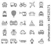 transportation line icons on... | Shutterstock .eps vector #609125171