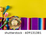 word fiesta on a bright painted ... | Shutterstock . vector #609131381