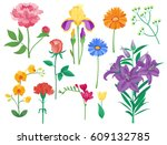 cartoon petal vintage floral... | Shutterstock .eps vector #609132785