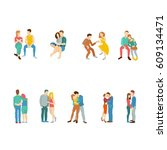 lover couple vector isolated. | Shutterstock .eps vector #609134471